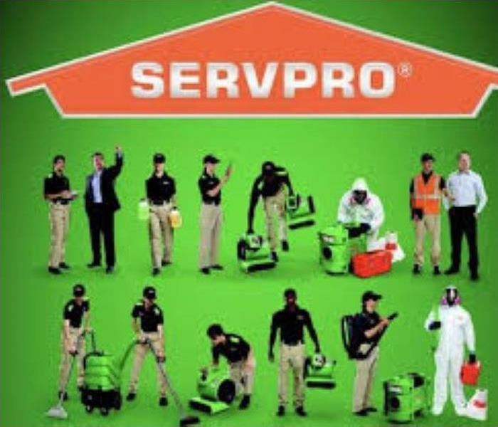 servpro logo with uniformed personnel in assorted scenarios with equipment