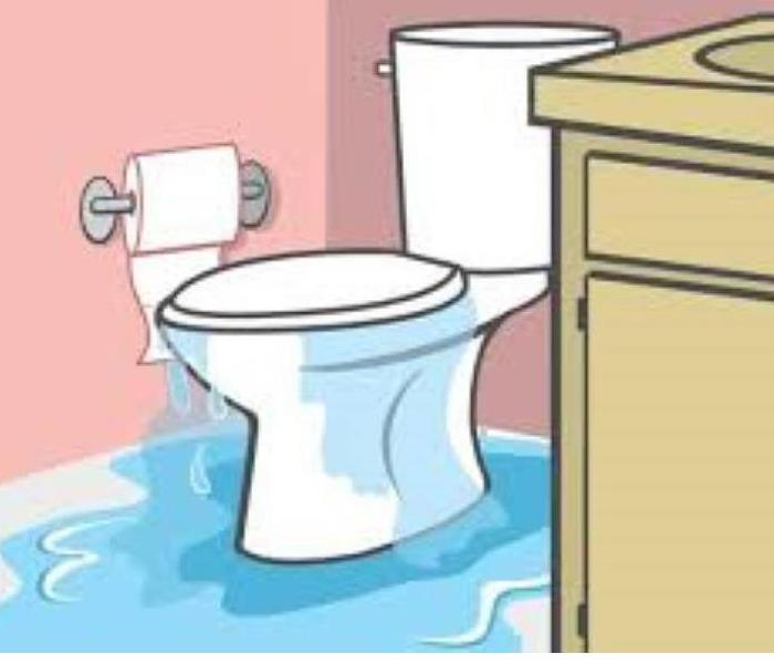 cartoon graphic of leaking toilet with water spilling onto the floor